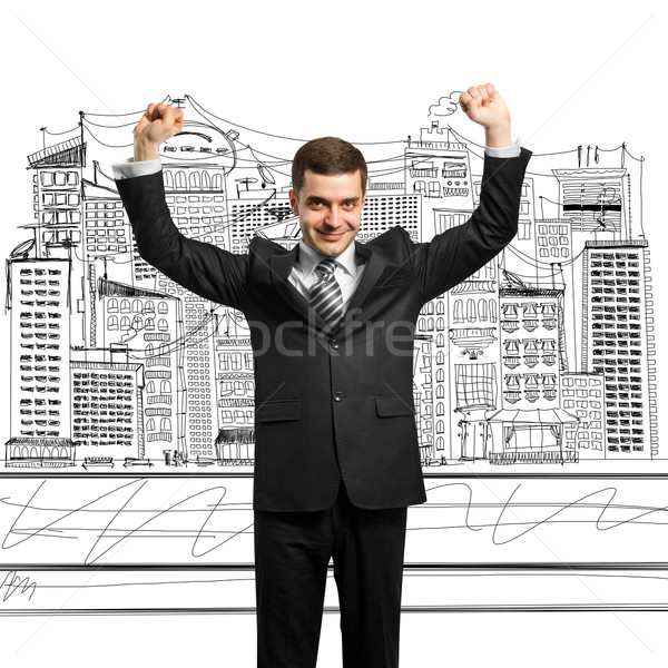 businessman with hands up Stock photo © leedsn