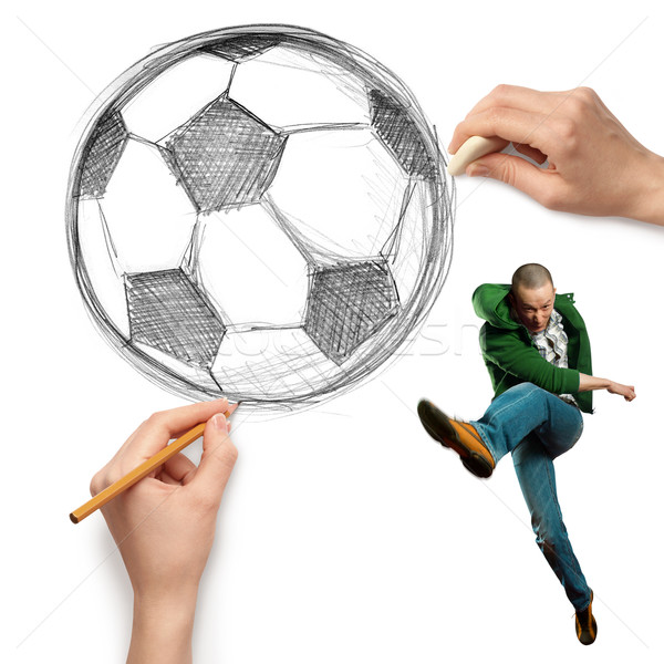 sketch soccer football ball and male Stock photo © leedsn