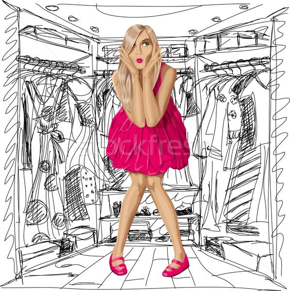 Vektor meglepődött szőke nő rózsaszín ruha divat Stock fotó © leedsn