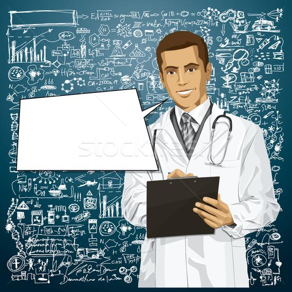 вектора врач человека буфер обмена Дать что-то Сток-фото © leedsn