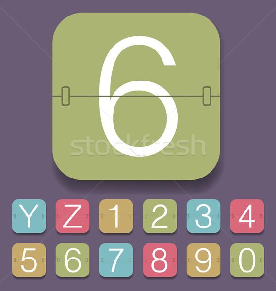 Mechaniczny wynik alfabet wektora zestaw zegar Zdjęcia stock © leedsn
