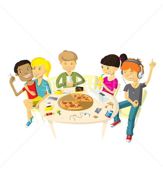 Vrienden pizzeria tieners leuk muziek glimlach Stockfoto © leedsn