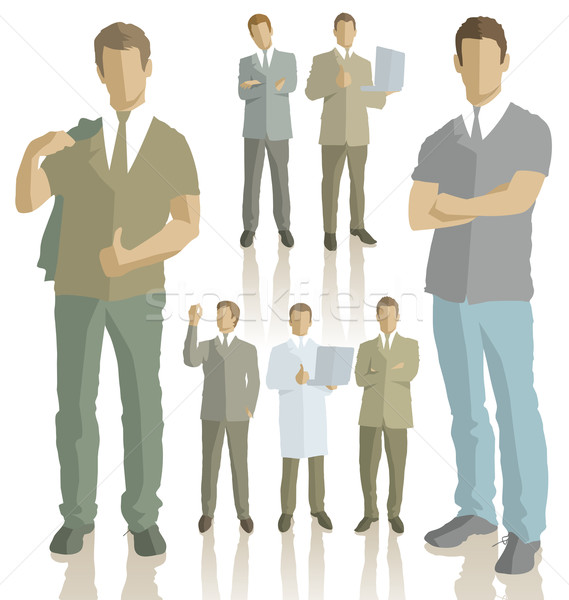 Vector silhouettes of business people Stock photo © leedsn