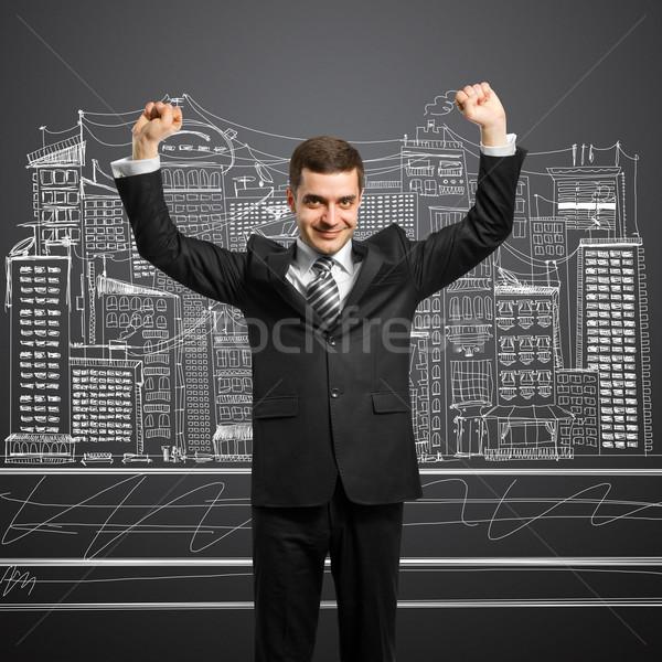 Zakenman handen omhoog gelukkig vieren overwinning hand Stockfoto © leedsn