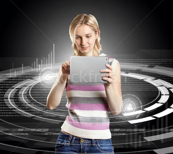 Stockfoto: Vrouw · touch · social · media · pak · internet · werk