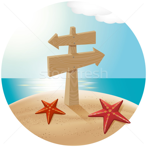 Guidepost At The Sea Beach Stock photo © leedsn