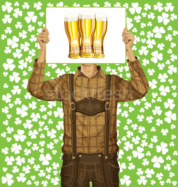 Mann schreiben Bord St Patricks Day Idee Vektor Stock foto © leedsn