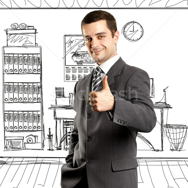 Business Man Shows Well Done Stock photo © leedsn