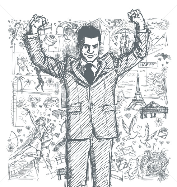 Stock photo: Sketch Businessman With Hands Up Against Love Story Background 0