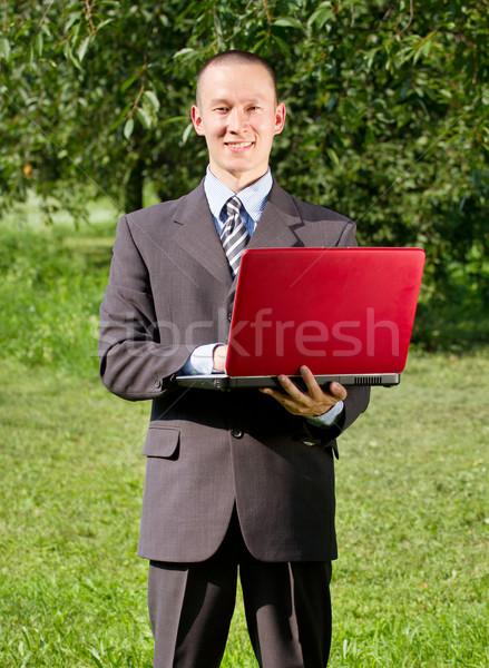 Man werken buitenshuis freelancer business glimlach Stockfoto © leedsn