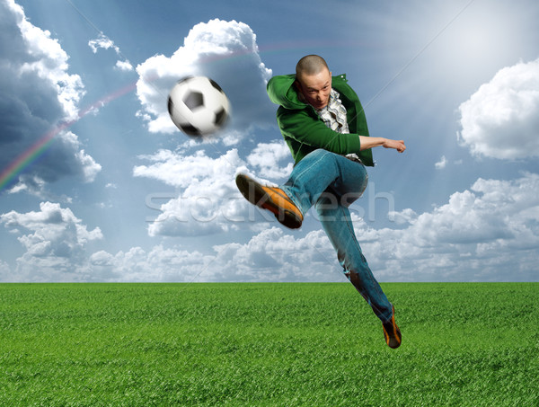 Stockfoto: Asian · voetballer · buitenshuis · opleiding · kick · voetbal