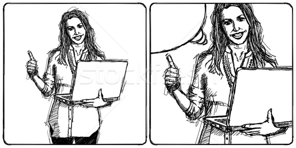 Sketch female with laptop shows well done Stock photo © leedsn