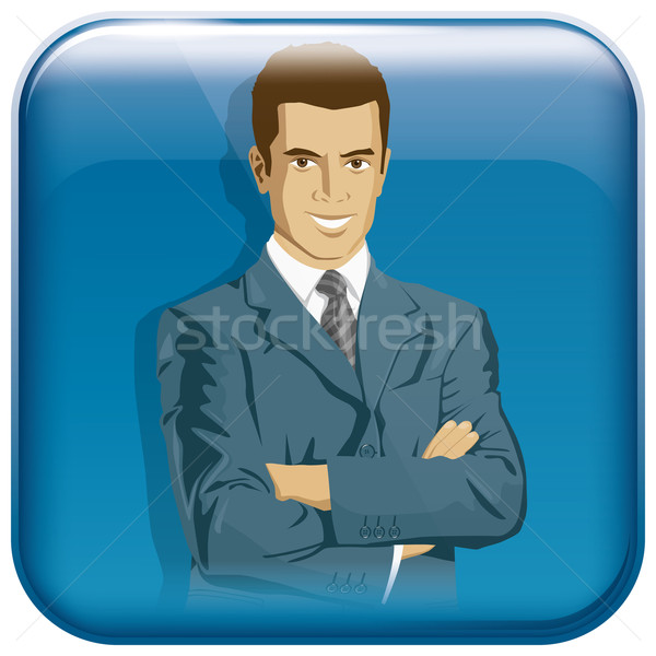 App Icon With Business Man Stock photo © leedsn