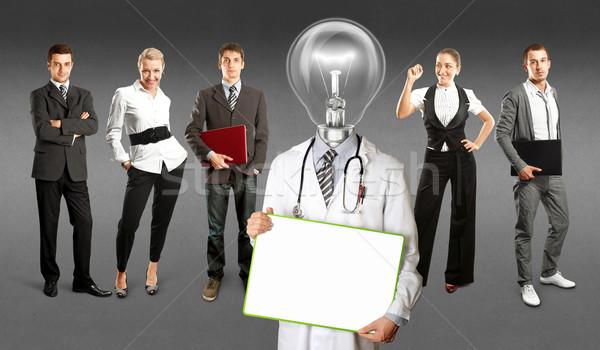 Business team lamp hoofd arts idee verschillend Stockfoto © leedsn