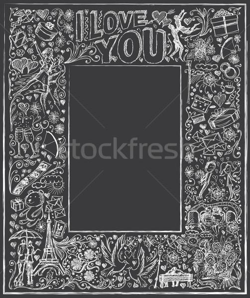 Photo stock: Vecteur · bord · amour · croquis · cadre · histoire