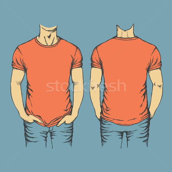 Vecteur rouge tshirt modèle modèles Photo stock © leedsn