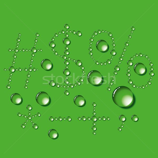 水滴 文字 ベクトル セット 緑 テクスチャ ストックフォト © leedsn