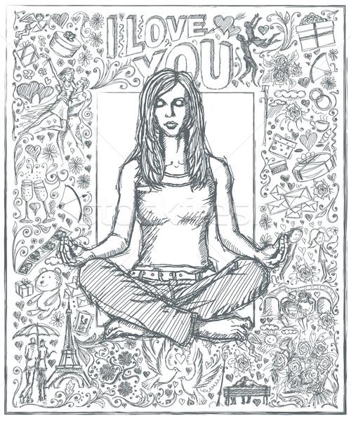 Sketch donna meditazione Lotus posa amore Foto d'archivio © leedsn