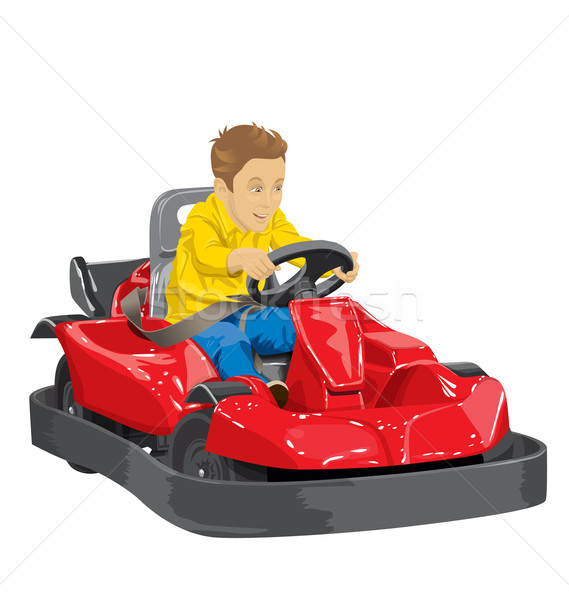 Boy driving go kart Stock photo © leedsn