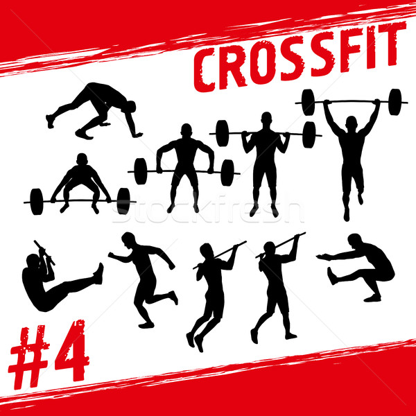 Crossfit vector silhouetten mensen fitness veel Stockfoto © leedsn