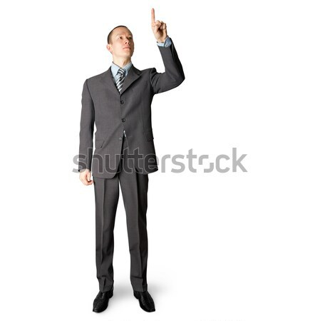 full length businessman push the button Stock photo © leedsn