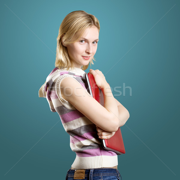 Mujer portátil manos mirando cámara nina Foto stock © leedsn