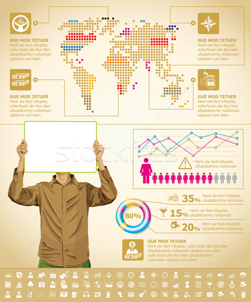 Infographics With Earth Map Stock photo © leedsn