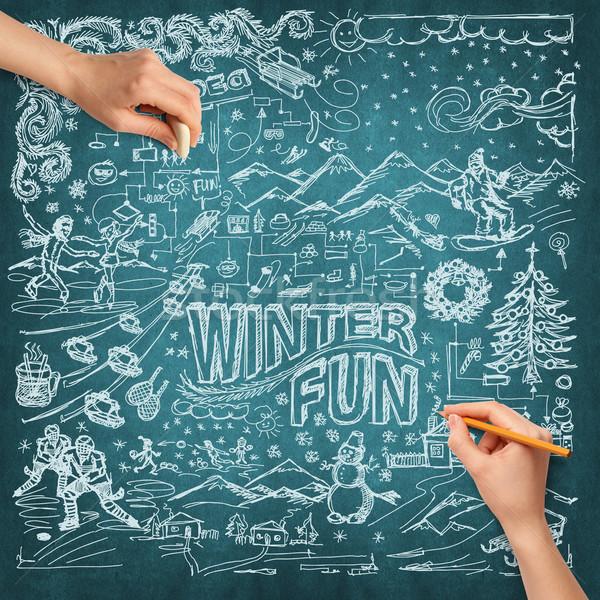 Foto stock: Idéia · mão · humana · inverno · diversão · esboço · lápis