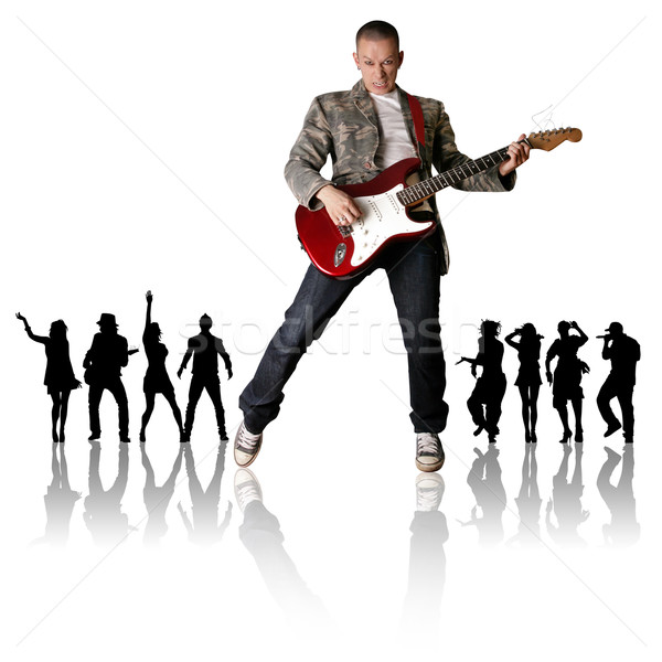 Punk man gitaar silhouet zwarte mensen muziek Stockfoto © leedsn