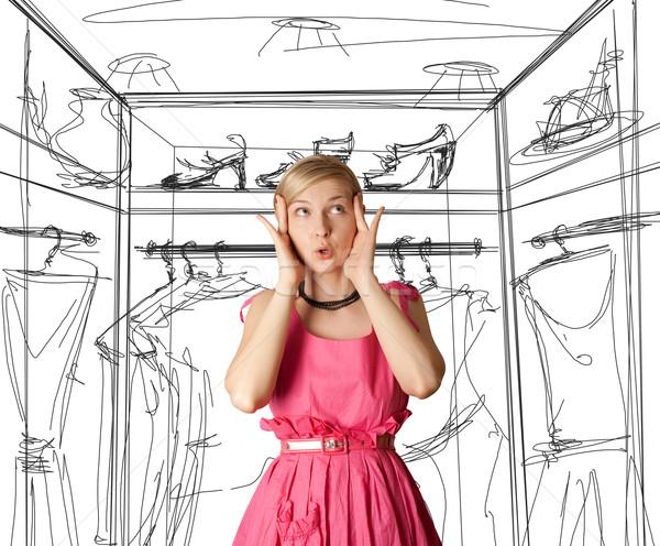 Zdziwiony dziewczyna różowy otwarte strony Zdjęcia stock © leedsn