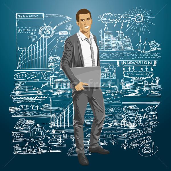 Vector Businessman With Laptop Stock photo © leedsn