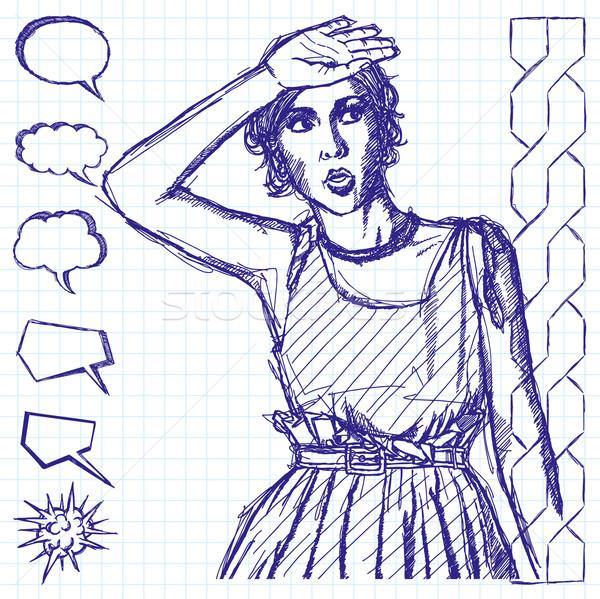 Stock photo: Sketch Surprised Girl
