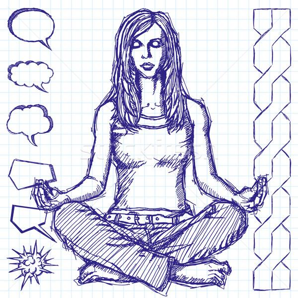 Rajz nő meditáció lótusz póz vektor Stock fotó © leedsn