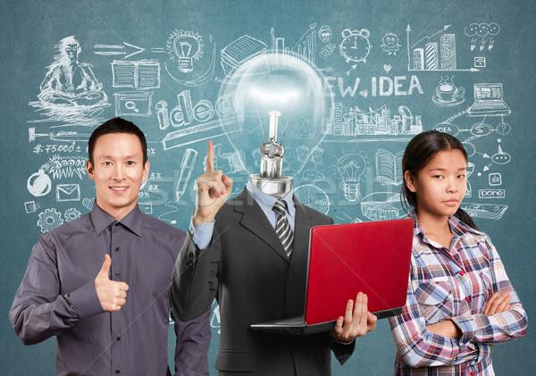 Stockfoto: Asian · team · lamp · hoofd · man · business · team