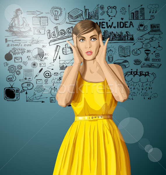 Stock photo: Vector Surprised Girl in Dress