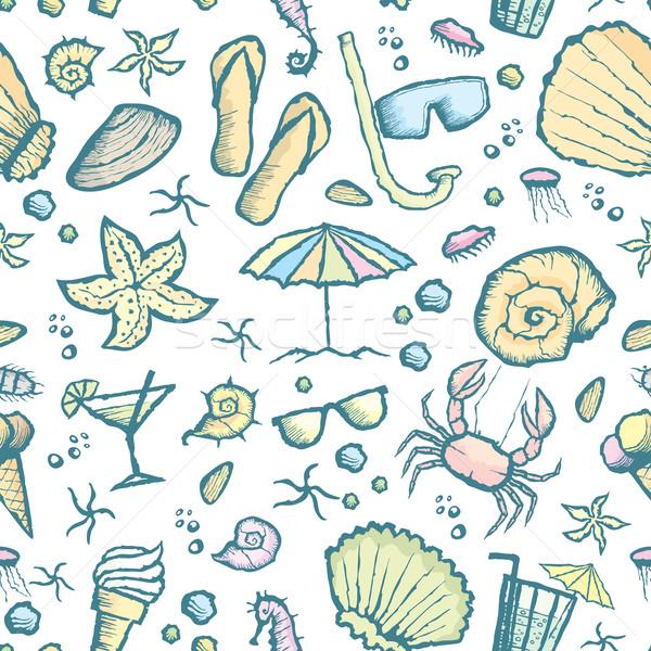 seamless sea creatures pattern Stock photo © leedsn