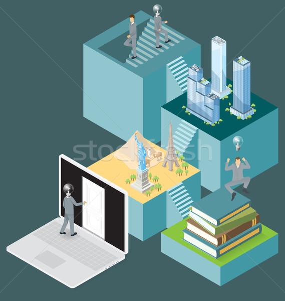 Vektor 3D izometrikus internet ajtó tudás Stock fotó © leedsn