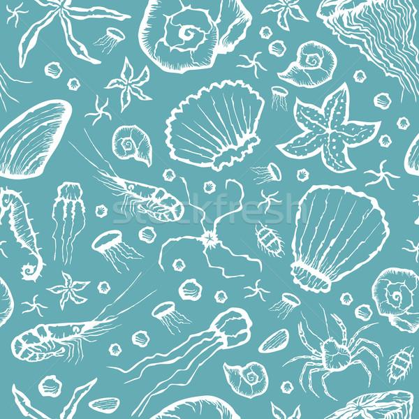 бесшовный морем Существа шаблон вектора стороны Сток-фото © leedsn