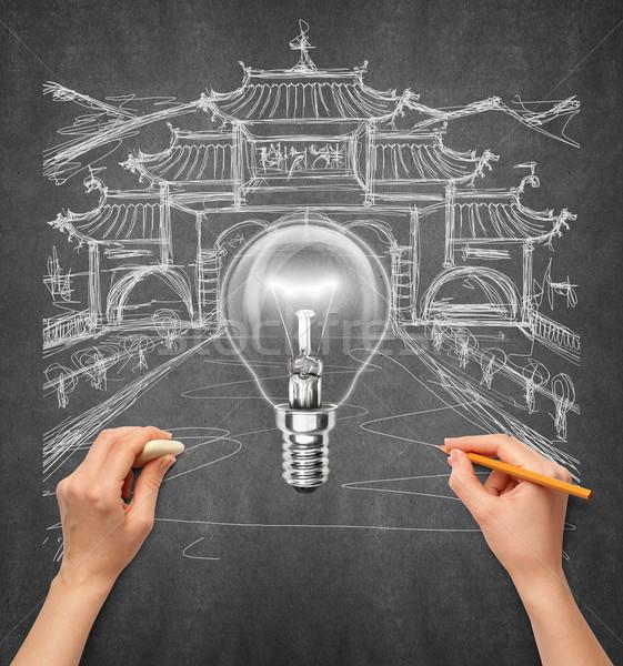 Idéia mão humana viajar lâmpada esboço lápis Foto stock © leedsn