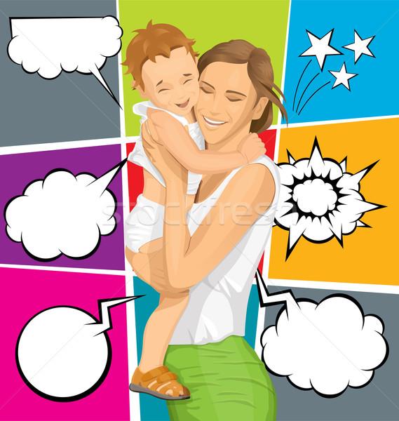 Vektor nő gyermek boldog család baba mosoly Stock fotó © leedsn