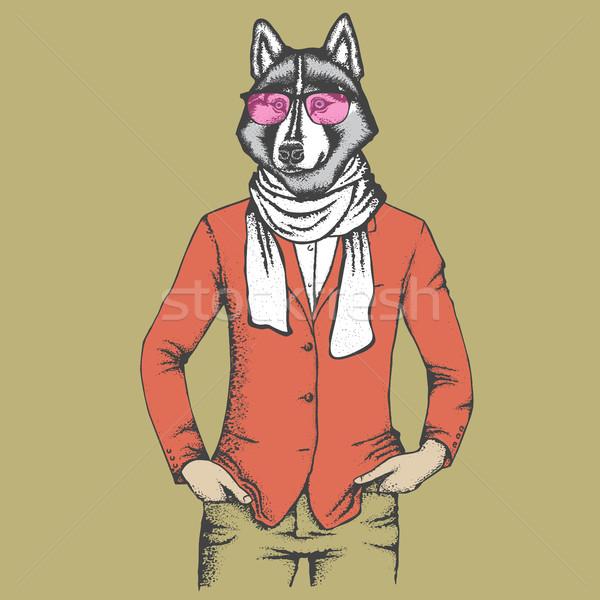 Boğuk insan takım elbise vektör köpek el Stok fotoğraf © leedsn