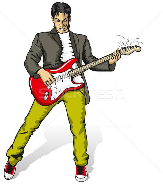 панк человека гитаре вектора изолированный белый Сток-фото © leedsn