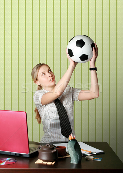 Femme d'affaires regarder football ordinateur fille sport Photo stock © leedsn