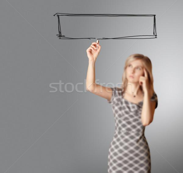 Zdjęcia stock: Kobieta · interesu · coś · odizolowany · biały · wybrany · skupić