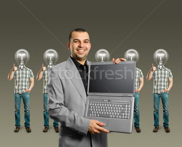 Zdjęcia stock: Lampy · głowie · dobrze · uśmiech · człowiek