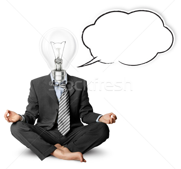 lamp-head businessman in lotus pose with speech bubble Stock photo © leedsn
