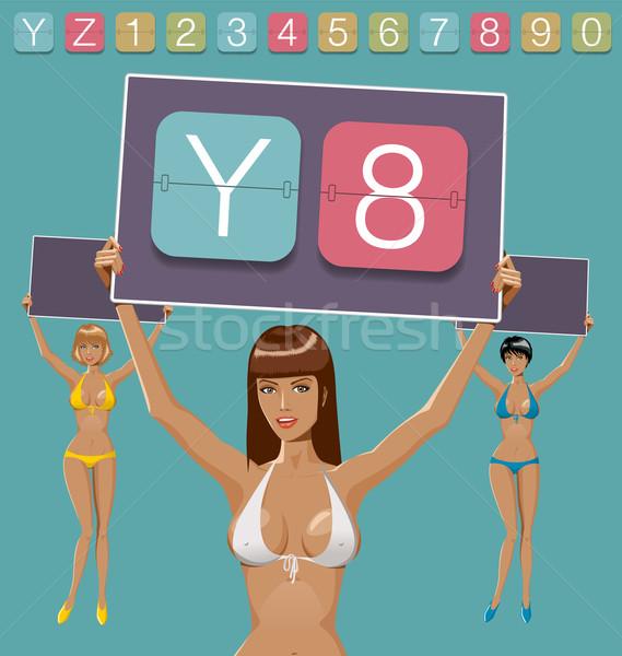 Gépi eredményjelző ábécé vektor szett nők Stock fotó © leedsn