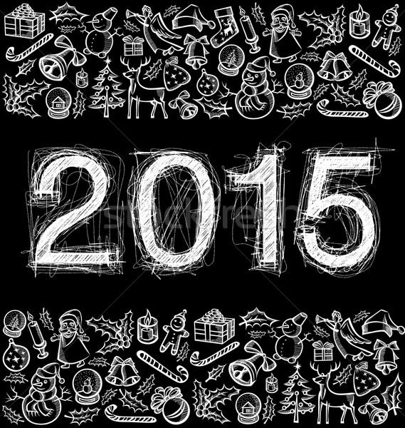 Vector sketch numbers 2015 Stock photo © leedsn