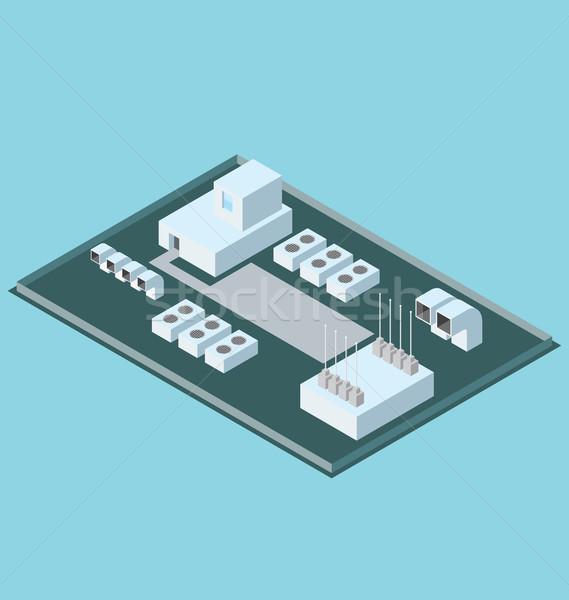 Vektor 3D izometrikus tető irodaház légkondicionáló Stock fotó © leedsn