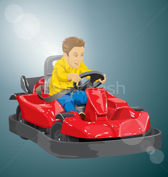 Boy driving go kart Stock photo © leedsn